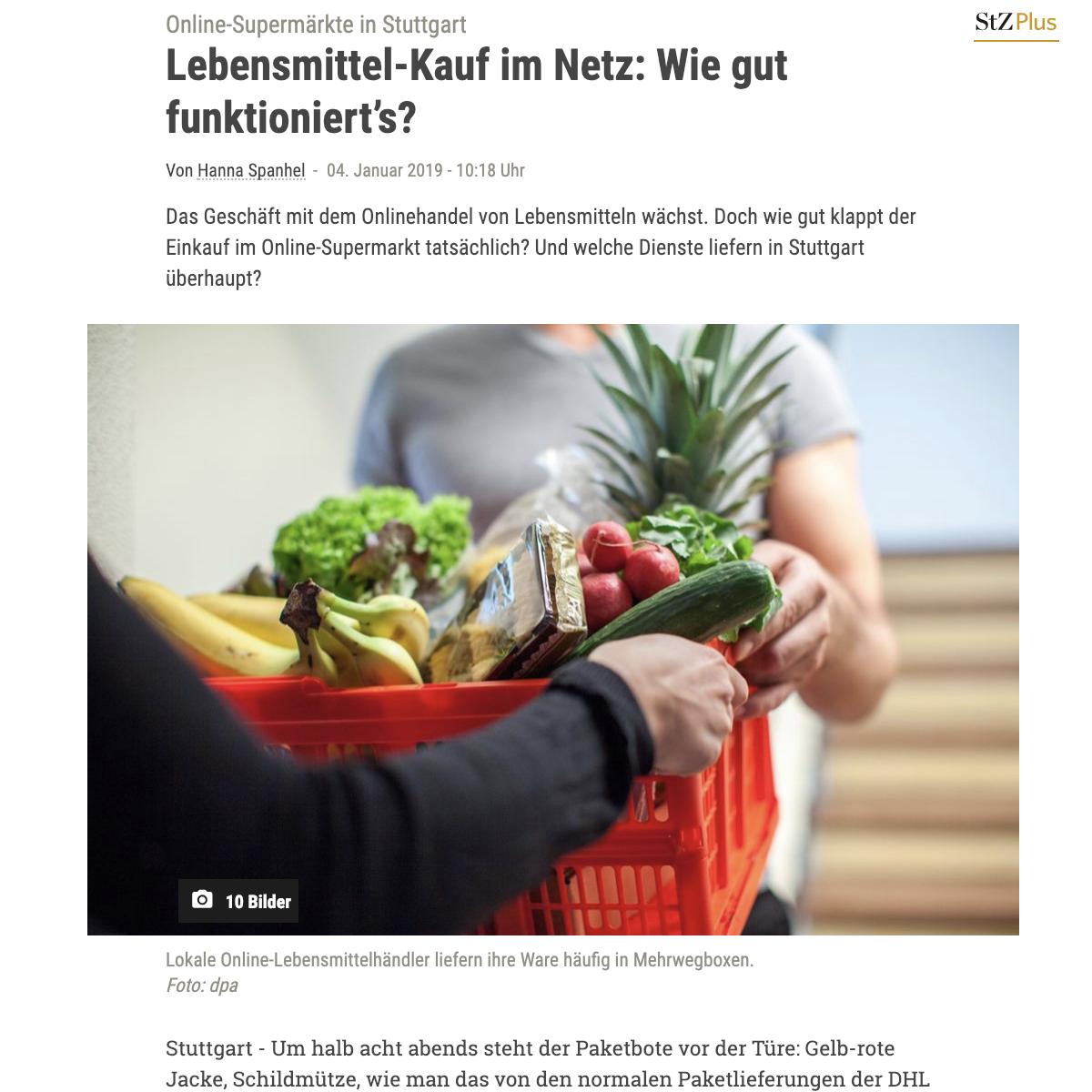 Screenshot online grocery shopping