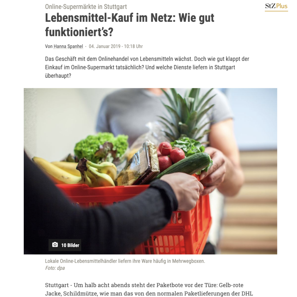 Screenshot Artikel Stuttgarter Zeitung